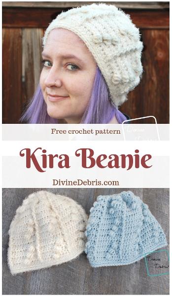 Kira Beanie free crochet pattern by DivineDebris.com #crochetpattern #freepattern #crochet #hats #beanies