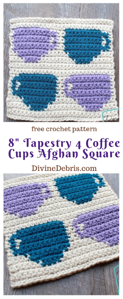 "8"" Tapestry 4 Coffee Cups Afghan Square free crochet pattern by DivineDebris.com#crochet #afghansquares #tapestry #coffee #freepattern"