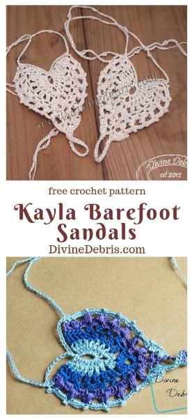 Kayla Barefoot Sandals free crochet pattern by DivineDebris.com   #crochet #freepattern #barefootsandals #crochetthread #Summer