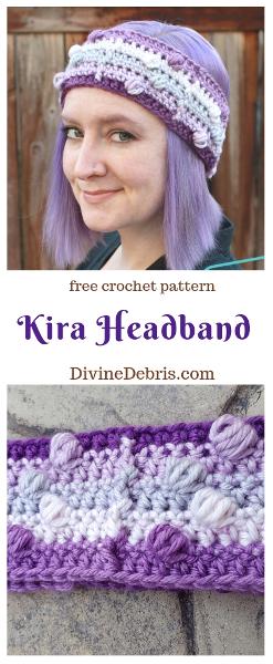 Kira Headband free crochet pattern by DivineDebris.com #crochet #freepattern #headband #bobbles #bulkyyarn