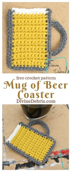 Mug of Beer Coaster free crochet pattern by DivineDebris.com #crochet #freepattern #mugofbeer #appliques #coasters #StPatricksDay #beer