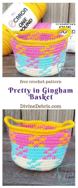 Pretty in Gingham Basket free crochet pattern by DivineDebris.com #crochetpattern #crochet #freepattern #baskets #gingham #tapestry #colorwork