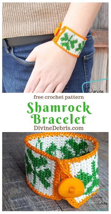 Shamrock Bracelet free crochet pattern #crochet #freepattern #shamrocks #StPatricksDay #bracelets #jewelry #crochetthread