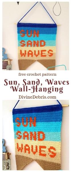 Sun, Sand, Waves Wall-Hanging free crochet pattern by DivineDebris.com  #crochet #homedecor #beachdays #Summerstyle #tapestrycrochet #freepattern #wallhanging