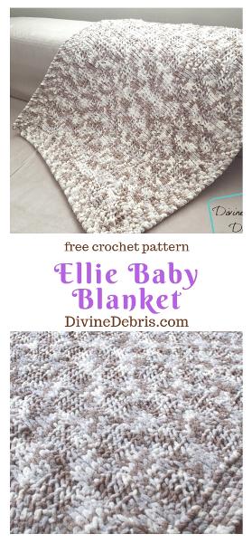 The Ellie Baby Blanket free crochet pattern by DivineDebris.com #crochet #Tunisiancrochet #babyblankets #bulkyyarn #freepattern