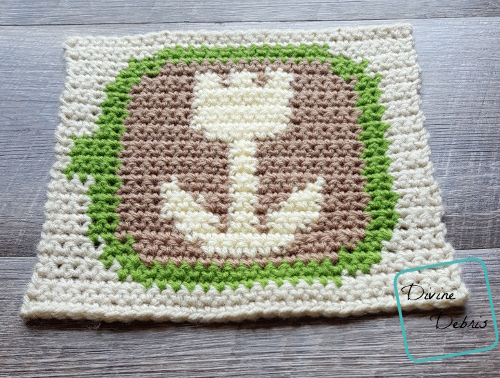 8″ Tapestry Tulip Art Coffee Afghan Square free crochet pattern by DivineDebris.com
