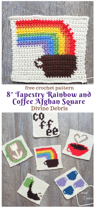 Learn how to make an 8″ Tapestry Rainbow and Coffee crochet Afghan Square by DivineDebris.com