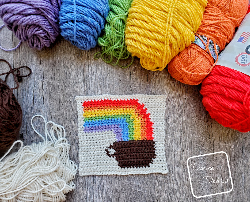 8″ Tapestry Rainbow and Coffee Afghan Square free crochet pattern by DivineDebris.com