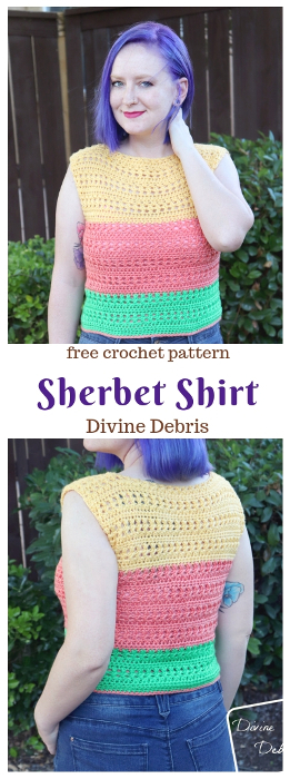 Learn to make the free crochet pattern, Sherbet Shirt on DivineDebris.com