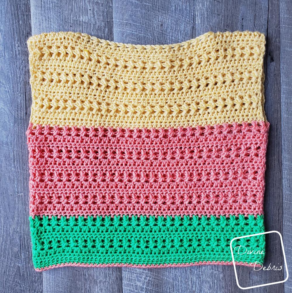 The Sherbet Shirt free crochet pattern on DivineDebris.com