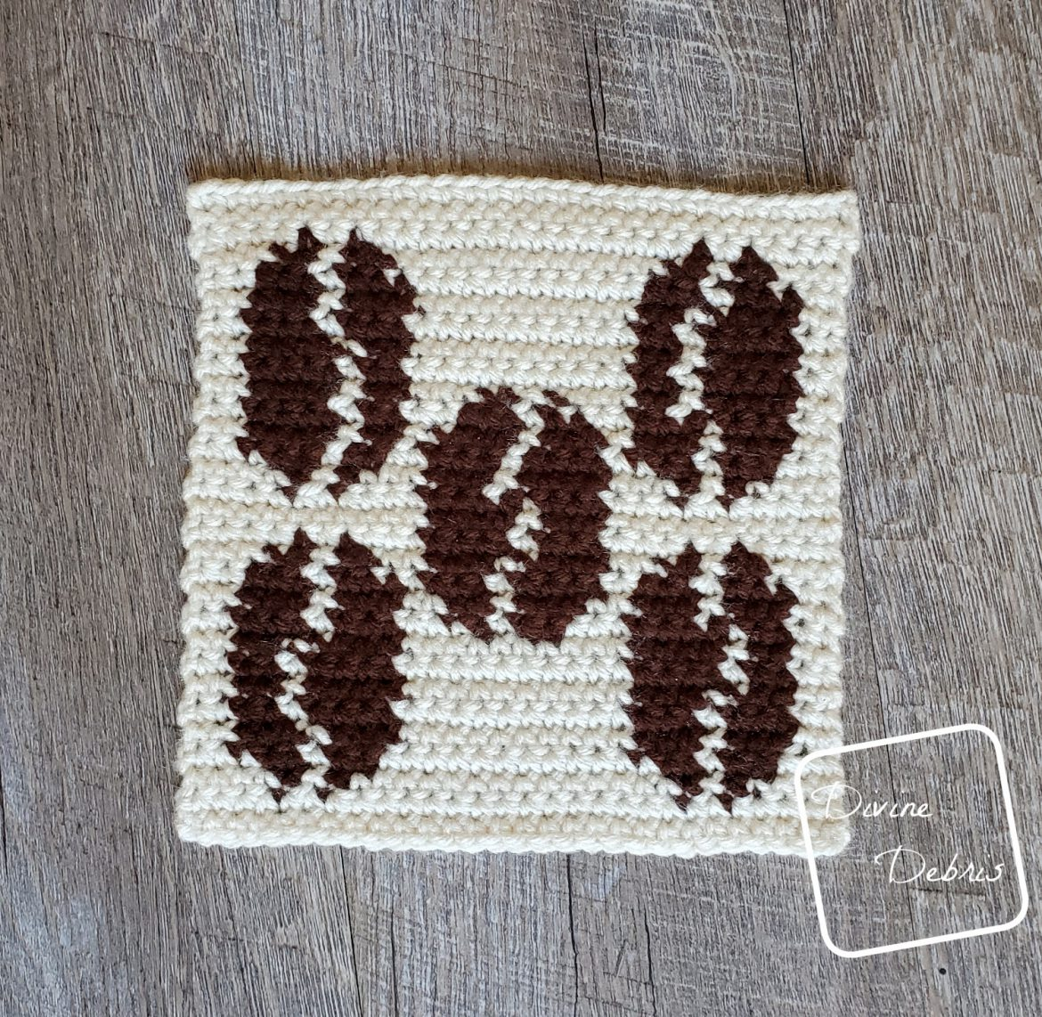 Learn to make an 8″ Tapestry Coffee Beans Afghan Square from a free crochet pattern by DivineDebris.com