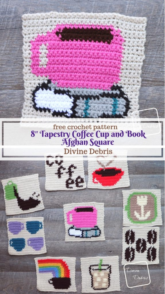 Learn to make an 8″ Tapestry Coffee Cup and Book Afghan Square from a free crochet pattern by DivineDebris.com