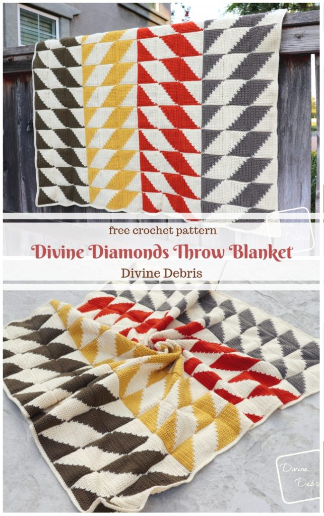Learn to make the Divine Diamonds Throw blanket from a free crochet pattern on DivineDebris.com