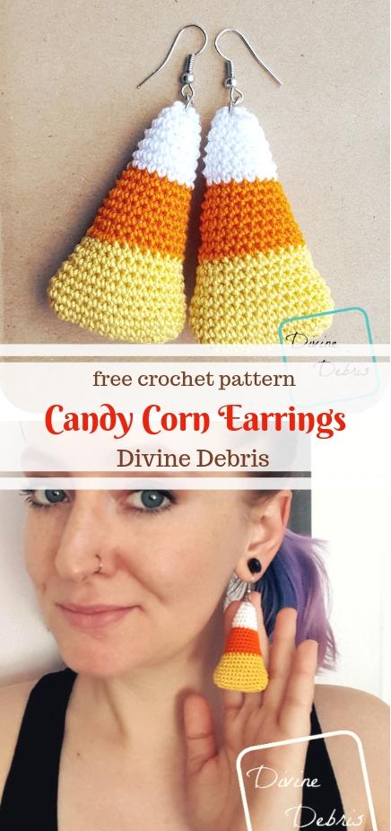 Candy Corn Earrings free crochet pattern by DivineDebris.com