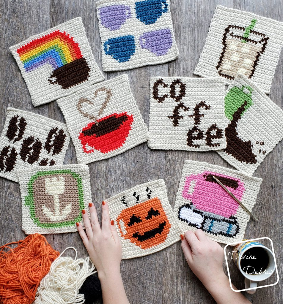 8″ Tapestry Coffee-O-Lantern Afghan Square a free crochet pattern by DivineDebris.com