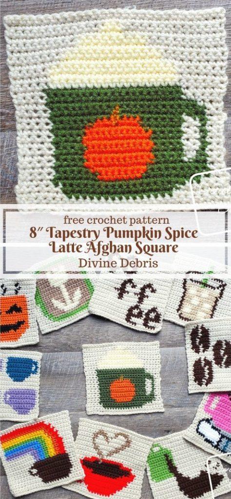 "8"" Tapestry Pumpkin Spice Latte Afghan Square free crochet pattern by DivineDebris.com"