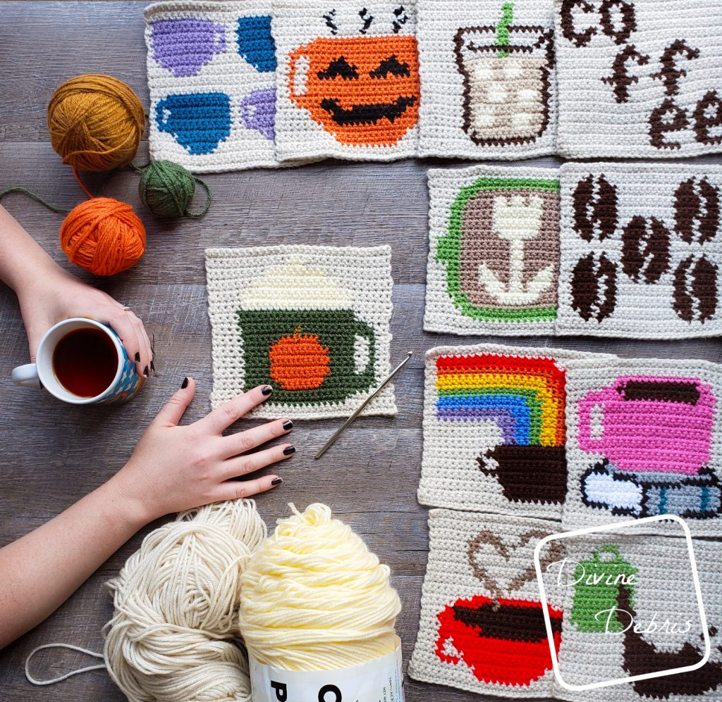 8″ Tapestry Pumpkin Spice Latte Afghan Square a free crochet pattern by DivineDebris.com