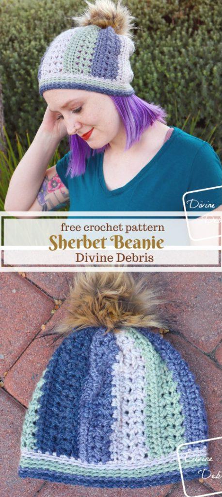 Sherbet Beanie free crochet pattern by DivineDebris.com