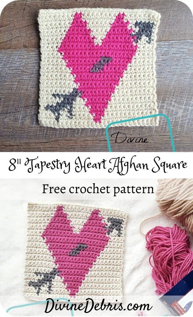 """Learn how to make the 8"""" Tapestry Heart Afghan Square free crochet pattern as part of a year-long CAL by Divine Debris. Great beginner tapestry pattern."""