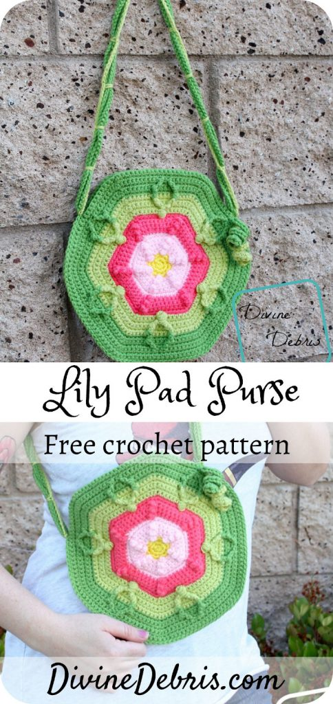 Learn to make this fun and brightly colored flower inspired purse, the Lily Pad Purse, from a free crochet pattern on DivineDebris.com