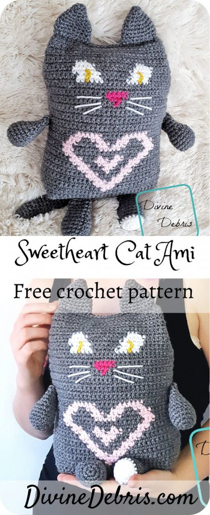 Get festive for Valentine's Day or make something special for that cat-lover in your life, with the Sweetheart Cat Ami free crochet pattern