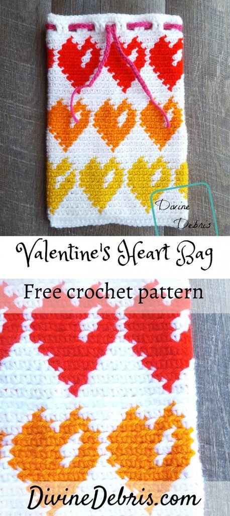 Make a perfect bag to store all the Valentine's Day cards you get with this Valentine's Heart Bag free crochet pattern by DivineDebris.com