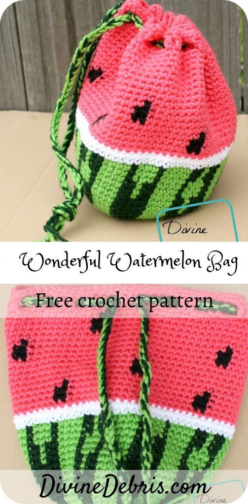 Learn to make the fun and fantastic with the Wonderful Watermelon Drawstring Bag from a free crochet pattern by DivineDebris.com