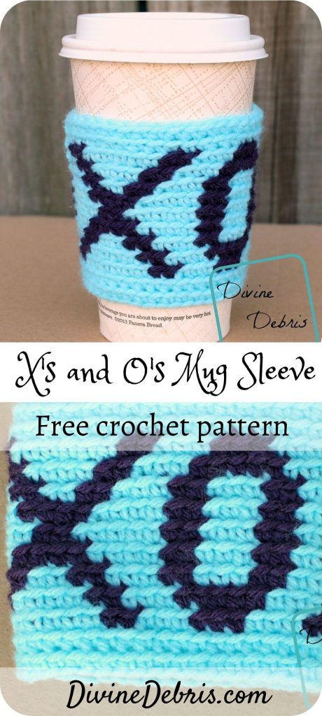 X's and O's Cup Sleeve free crochet pattern by DivineDebris.com