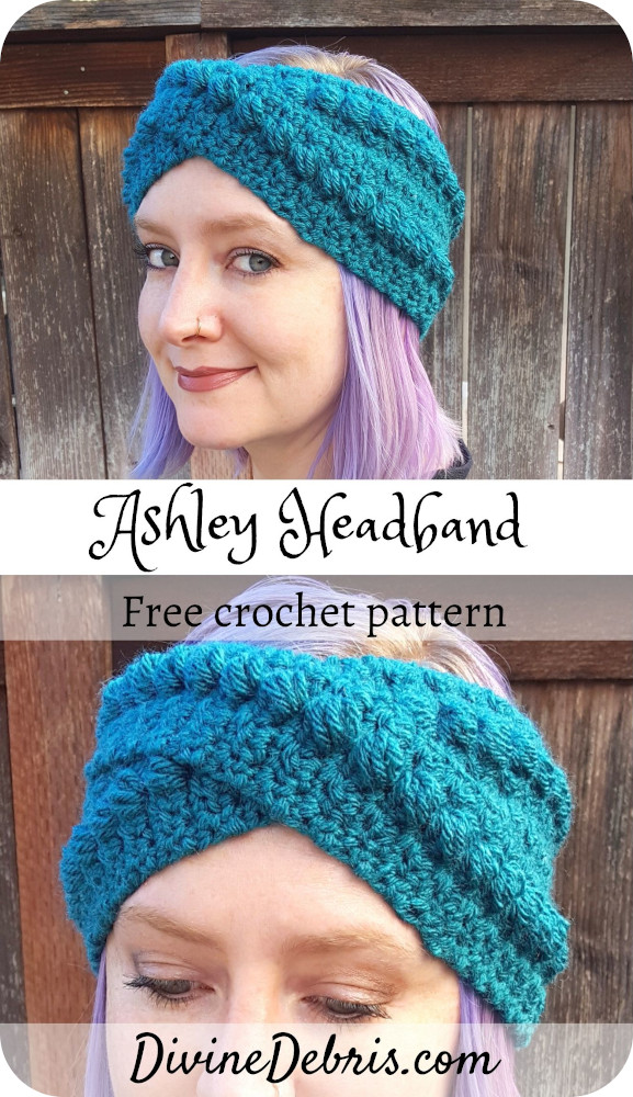 Learn to make the Ashley Headband from a fun, easy, and bobble focused free crochet pattern on DivineDebris.com