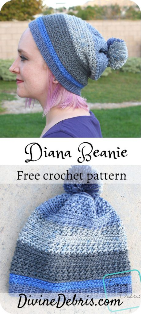 Learn to make the Diana Beanie from a free crochet pattern on DivineDebris.com