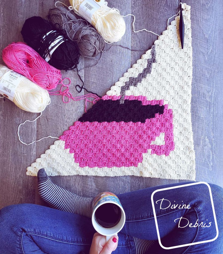 Learn to make the Heart and Cup C2C Afghan Square from a free pattern on DivineDebris.com