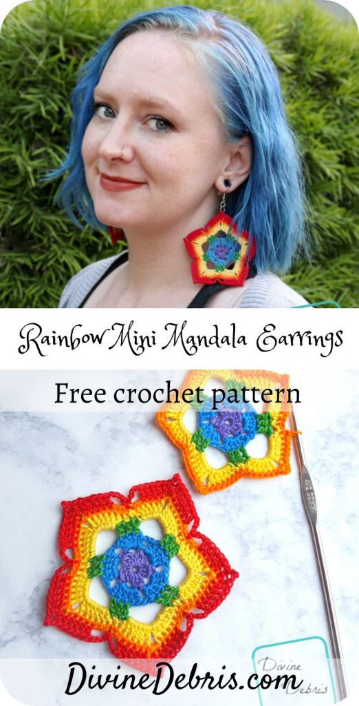 Learn to make the Rainbow Mini Mandala Crochet Earrings from a simple and easy to customize step by step photo tutorial on DivineDebris.com