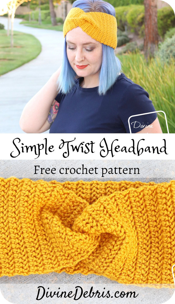 Learn to make the Simple Twist Headband, a very easy herringbone half double crochet design, from a free pattern on DivineDebris.com