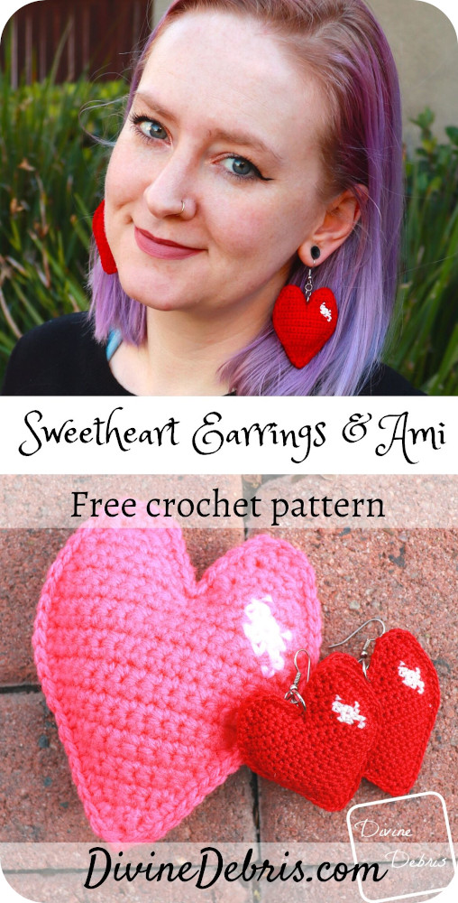 Learn to make the Sweetheart Earrings or Amigurumi from a free crochet pattern on DivineDebris.com