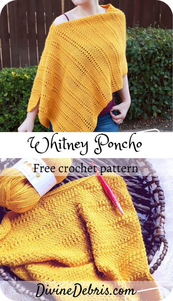 Learn to make the Whitney Poncho, a simple yet textured design that comes in sizes SM - 5X, from a free crochet pattern by DivineDebris.com