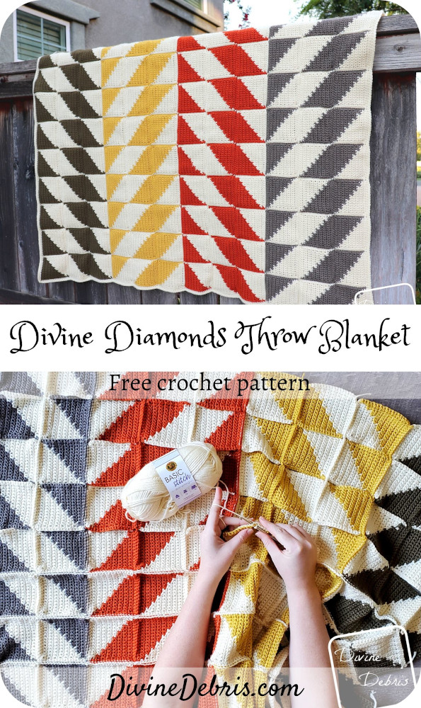Learn to make this fall favorite quilt-inspired and eye-catching tapestry crochet throw blanket from a free pattern on DivineDebris.com#crochet #freepattern #blankets