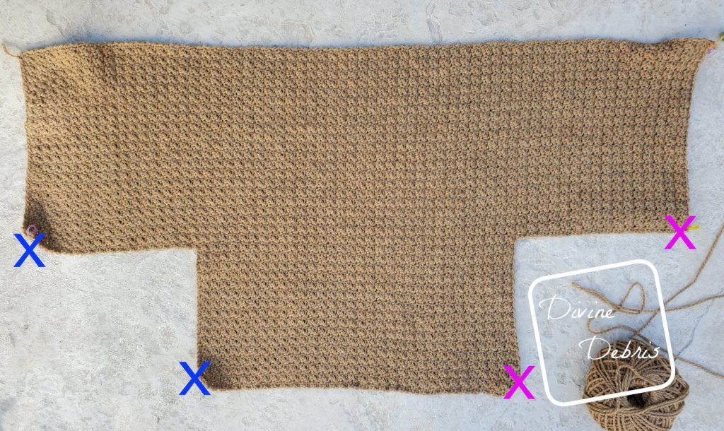 Raquel Cardigan crochet pattern: Left, Back, and Right side showing how work Lapels