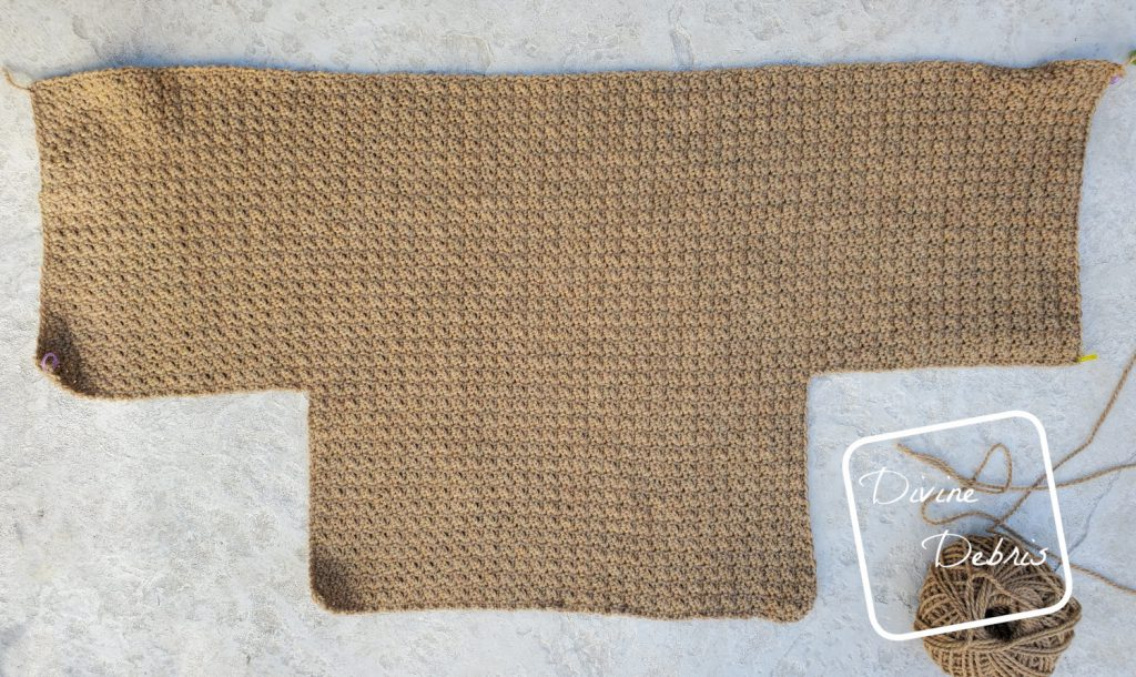 Raquel Cardigan crochet pattern: Left, Back, and Right side example before lapels