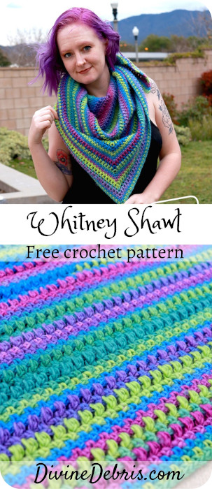 Learn to make the Whitney Shawl, an easy crochet shawl design that works wonderfully in one or more colors, from a free crochet pattern on DivineDebris.com#crochetpattern #freepattern #shawls #colorful #diy