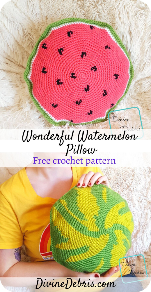 Learn to make the Watermelon Pillow, a fun tapestry crochet stoftie design, from a free crochet pattern by Divinedebris.com